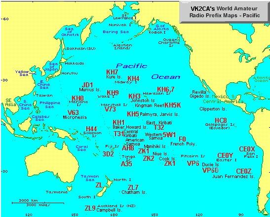 Amateur Radio Callsign Prefix Map Pacific Ocean